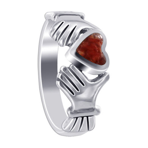 925 Sterling Silver Coral Color CZ Heart Irish Claddagh Women's Ring