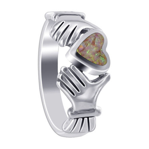 925 Sterling Silver Created Opal Heart Irish Claddagh Women's Ring