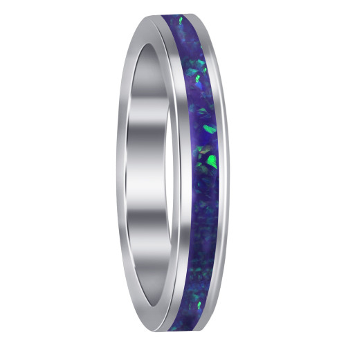 925 Sterling Silver Created Opal 3mm Eternity Band Ring