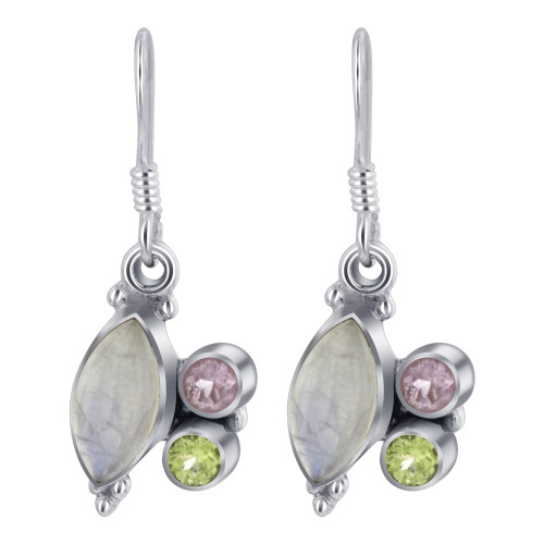 Sterling Silver Bezel Set Moonstone with Peridot and Amethyst Genuine Gemstone with Drop Earrings