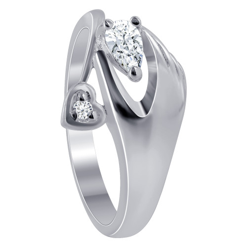 925 Silver CZ Hand with Pear & Heart Design Ring