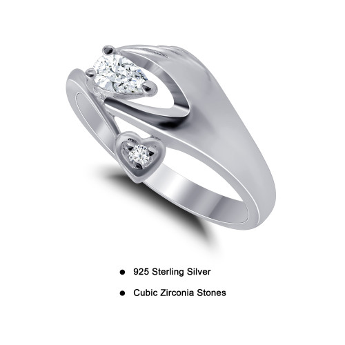 925 Sterling Silver CZ Hand with Pear & Heart Design Ring