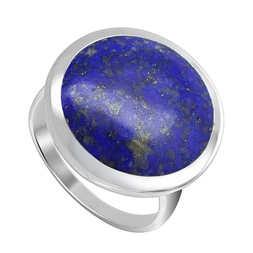 925 Sterling Silver 17mm Blue Lapis Lazuli Round Gemstone  Women's Ring
