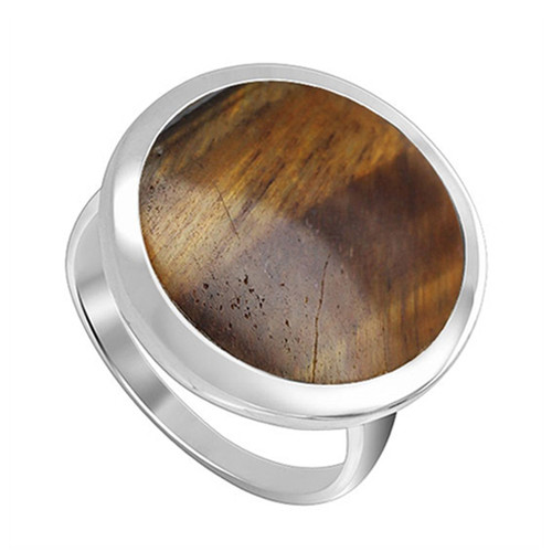 925 Sterling Silver 17mm Round Brown Tiger eye Gemstone  Women's Ring
