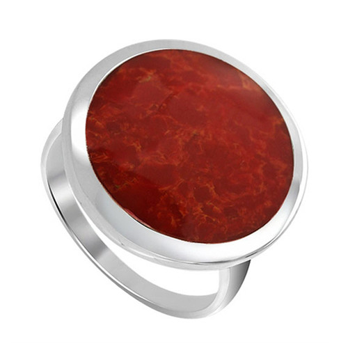 925 Sterling Silver 17mm Round Red Coral Gemstone Women's Ring