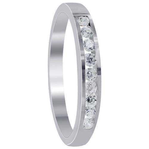 925 Sterling Silver 2mm Round Clear Cubic Zirconia Slim Band