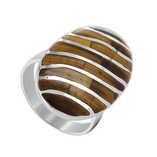 925 Sterling Silver Tiger eye Gemstone 25 x 16mm Oval with Stripes Design Ring