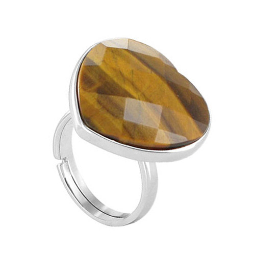 925 Sterling Silver Faceted Tiger Eye Heart Shape Love Solitaire Women's Ring
