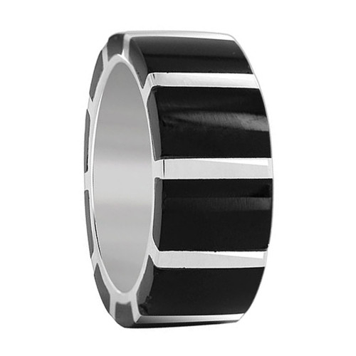 925 Sterling Silver Black Onyx Gemstone Strips 9mm Band Unisex Ring