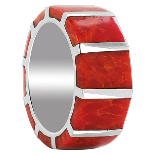 925 Sterling Silver Coral Gemstone 9mm Band Strips Unisex Ring