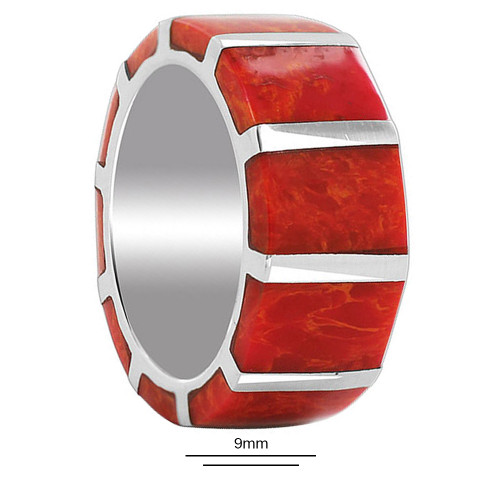 Coral Gemstone Band Strips Unisex Ring