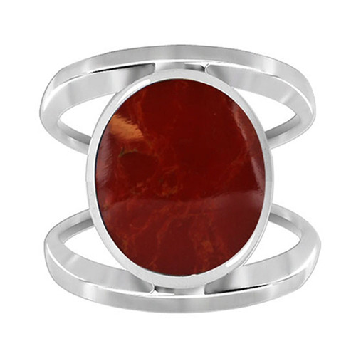 925 Sterling Silver Split Design Oval Coral Gemstone Solitaire Women's Ring