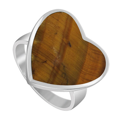 925 Sterling Silver Brown Tiger eye Gemstone Heart Women's Ring