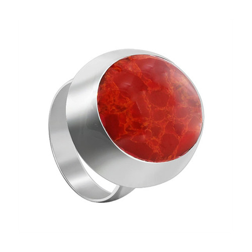 925 Sterling Silver Oval Red Coral Gemstone Solitaire Women's Ring