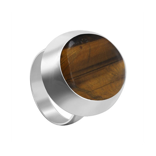 925 Sterling Silver Oval Brown Tiger eye Gemstone Solitaire Women's Ring