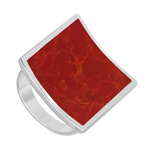 925 Sterling Silver Square Red Coral Gemstone Women's Ring