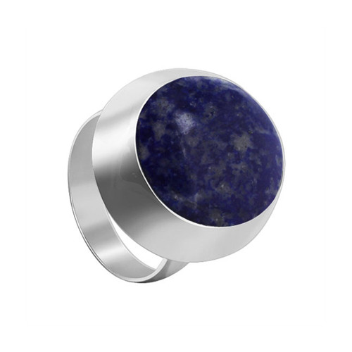 925 Sterling Silver Oval Blue Lapis Lazuli Gemstone Solitaire Women's Ring