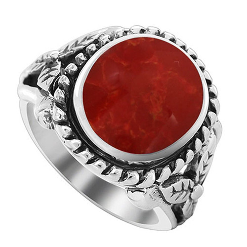 Milgrain Design Oval Coral Gemstone Solitaire Womens Ring