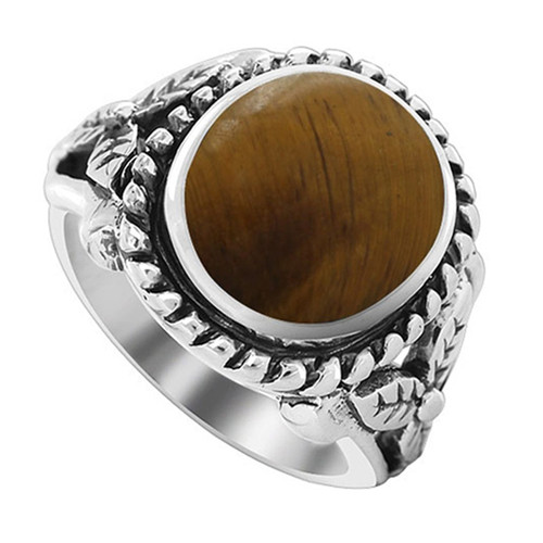 925 Sterling Silver Milgrain Design Oval Tiger eye Gemstone Solitaire Women's Ring