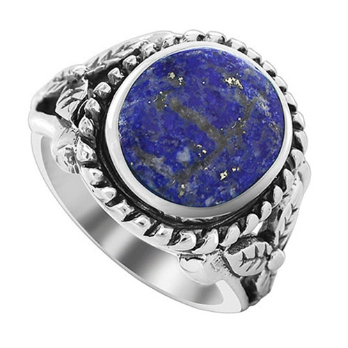 925 Sterling Silver Milgrain Design Oval Lapis Lazuli Gemstone Solitaire Women's Ring