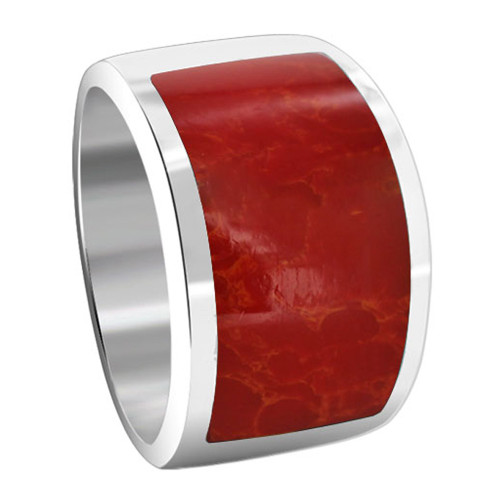 925 Sterling Silver Red Coral Gemstone 6mm Women's Ring