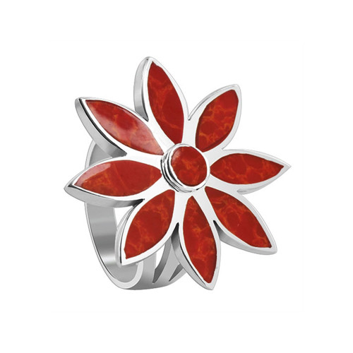 925 Sterling Silver Floral Design Red Coral Gemstone Women's Ring