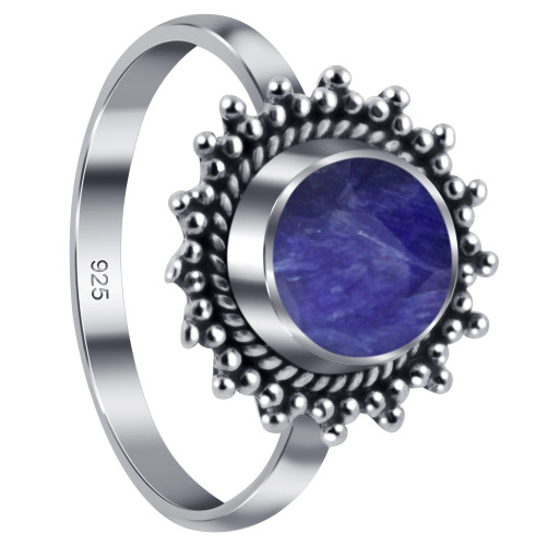 925 Sterling Silver Lapis Gemstone Retro Style Women's Ring