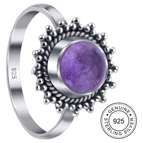 Amethyst Gemstone Retro Style Womens Ring