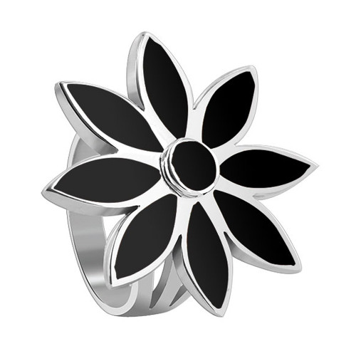 925 Sterling Silver Black Onyx Gemstone Women's Ring Floral Design
