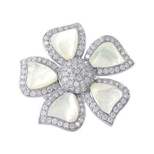 925 Sterling Silver Mother of Pearl with Cubic Zirconia 32mm Flower Women's Ring Size 7 to 10 Adjustable
