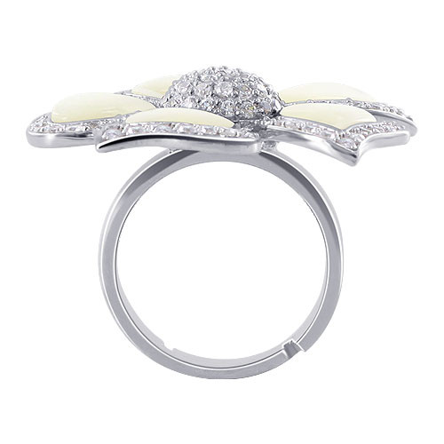 Mother of Pearl Cubic Zirconia Flower Womens Ring