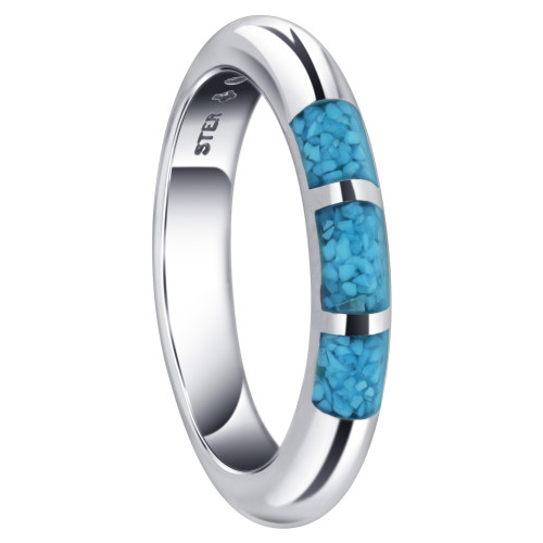 Half Round Turquoise Gemstone Inlay 4 mm Unisex Sterling Silver Band Ring