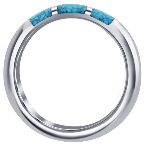 Sterling Silver Half Round Turquoise Gemstone Inlay 4 mm Unisex Band