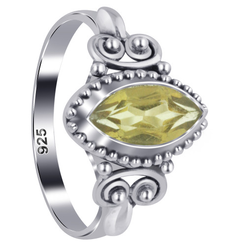 925 Sterling Silver Marquise Citrine Gemstone Women's Ring