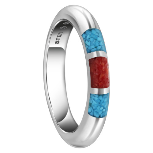 Half Round Turquoise and Coral Gemstone Inlay 4mm Sterling Silver Wedding Band Ring