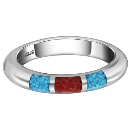 Sterling Silver Half Round Turquoise & Coral Gemstone Inlay Unisex Band
