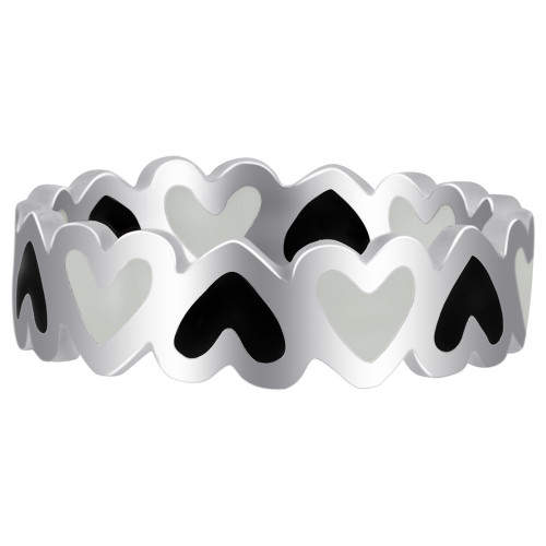 Sterling Silver with Black and White Enamel 5mm Heart Band