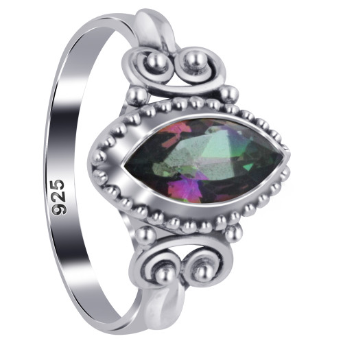 925 Sterling Silver Marquise Topaz Gemstone Women's Ring