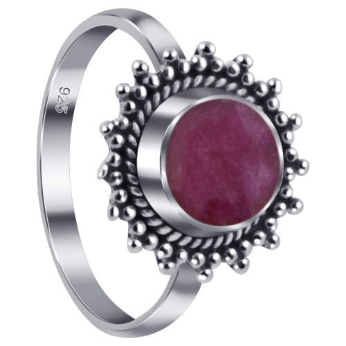 925 Sterling Silver Dyed Ruby Gemstone Retro Style Women's Ring