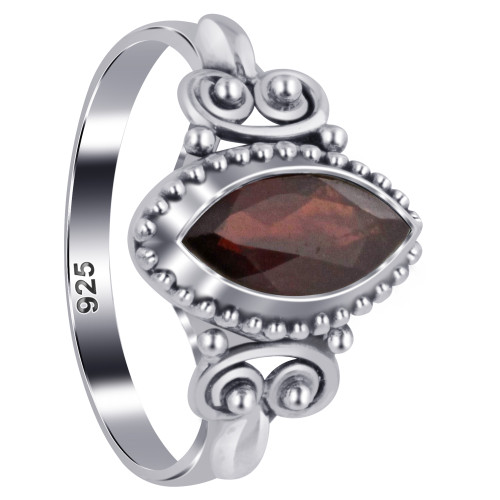 925 Sterling Silver Marquise Garnet Gemstone Women's Ring