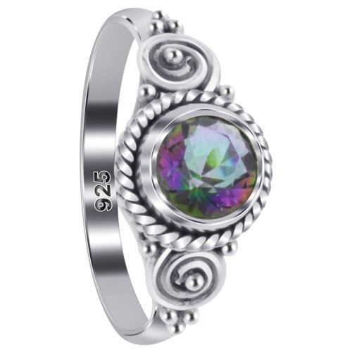 925 Sterling Silver Mystic Fire Topaz Gemstone Solitaire Women's Ring