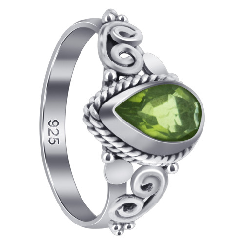 925 Sterling Silver 8 X 5mm Pear Shape Peridot Gemstone Women's Ring