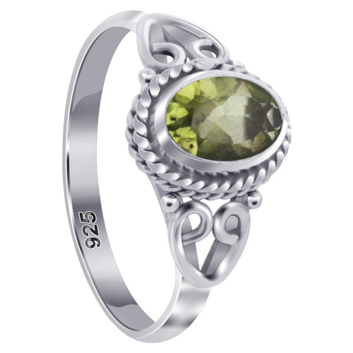925 Sterling Silver Oval Peridot Gemstone Women's Ring