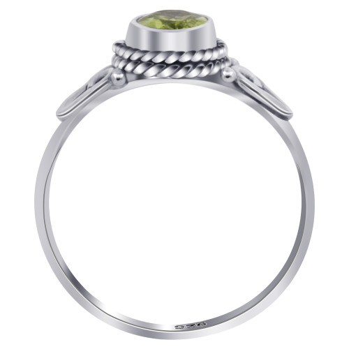 Sterling Silver Oval Peridot Gemstone Ring