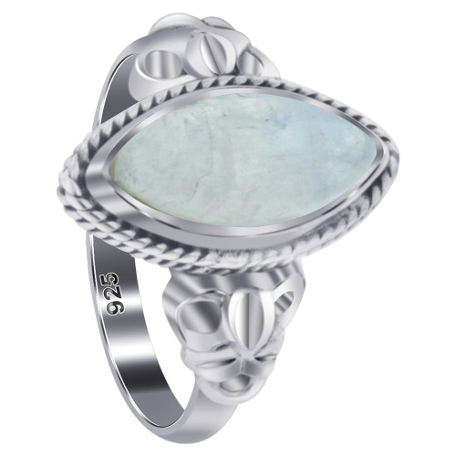 925 Sterling Silver Marquise Moonstone Gemstone Women's Ring