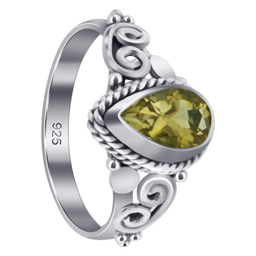 925 Sterling Silver Pear Shape Citrine Gemstone Women's Ring