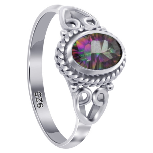925 Sterling Silver Oval Shape Mystic Topaz Gemstone Women's Ring