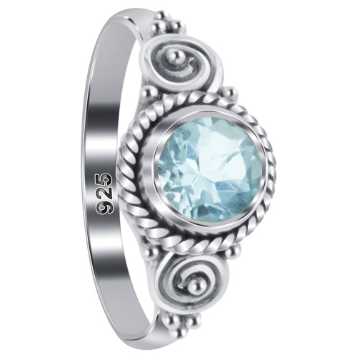 925 Sterling Silver 5mm Round Blue Topaz Gemstone Solitaire Women's Ring