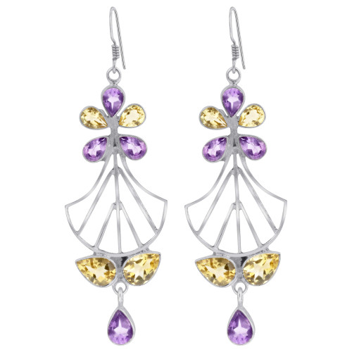 Amethyst Citrine Bali Design Drop Earrings
