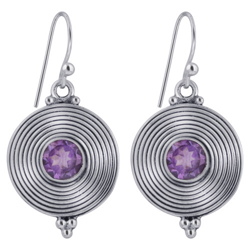 925 Sterling Silver French Hook Round Disk Amethyst Stone Bezel Setting Earrings for women